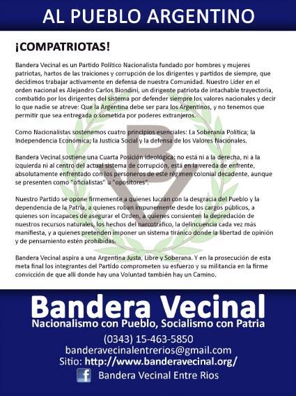 Bandera Vecinal llega a Entre Ríos