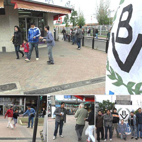 Mesa de Bandera Vecinal en la peatonal de Berazategui