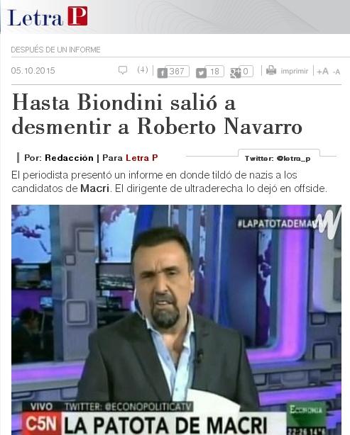 """(Repercusiones) Agencia de Noticias LetraP: """"Hasta Biondini salió a desmentir a Roberto Navarro"""""""
