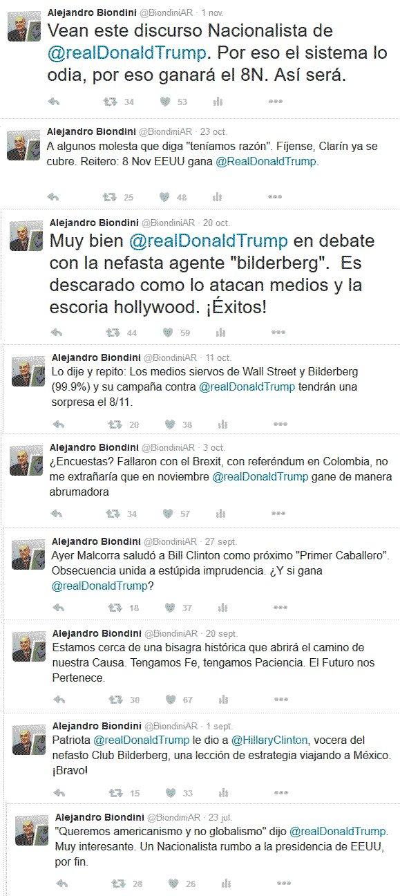 Tweets de Alejandro Biondini, donde anticipó desde hace meses el triunfo de Trump