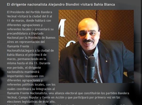 Expectativa por la visita de Biondini a Bahía Blanca (Agencia Realidad Bonaerense)