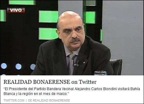El Presidente del Partido Bandera Vecinal Alejandro Carlos Biondini visitará Bahía Blanca y la región en el mes de marzo.