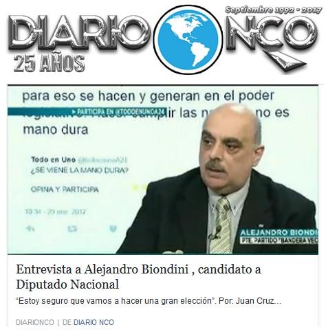 """(Diario NCO) """"Entrevista a Alejandro Biondini, candidato a Diputado Nacional"""""""