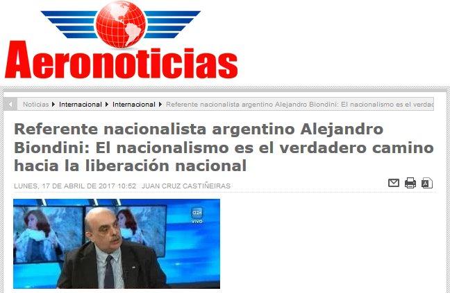 Ver entrevista a Biondini en el sitio web de Aeronoticias de Perú