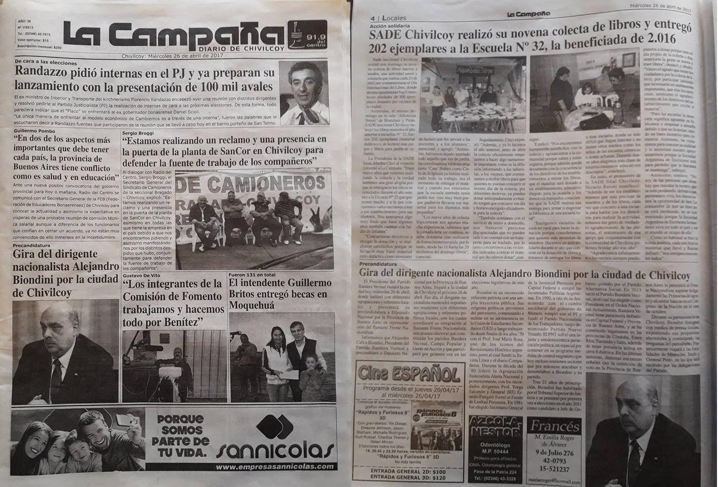 """[Diario La Campaña] """"Gira del dirigente nacionalista Alejandro Biondini por la Ciudad de Chivilcoy"""""""