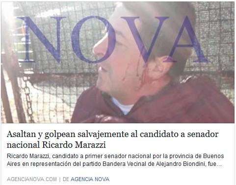 Agencia Nova - Asaltan y golpean salvajemente al candidato a senador nacional Ricardo Marazzi