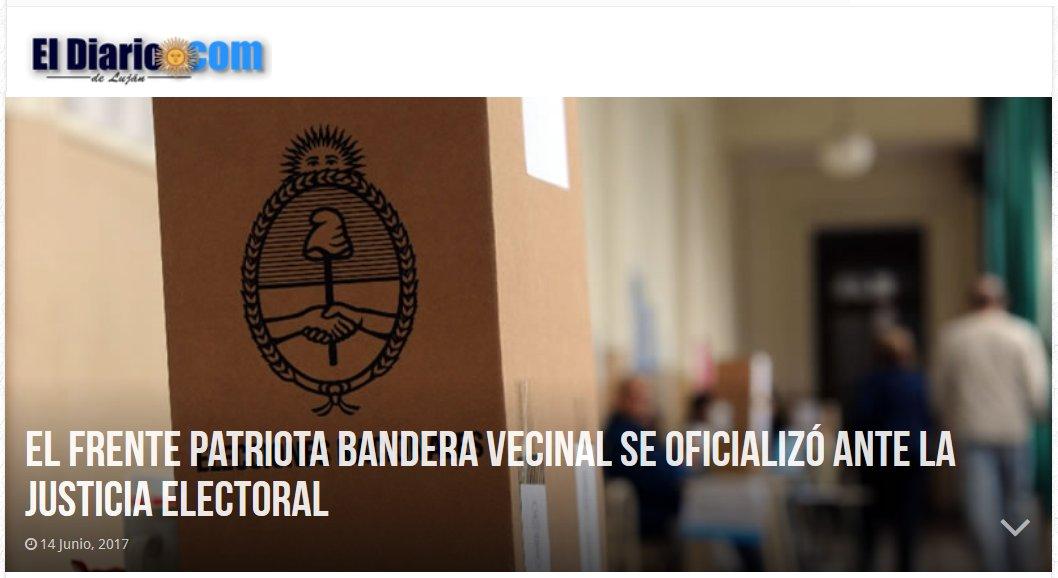 """[El Diario de Luján] """"El Frente Patriota Bandera Vecinal se oficializó ante la Justicia Electoral"""""""