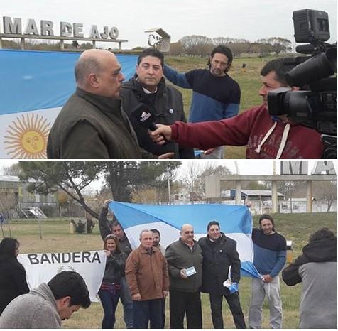 Biondini llegó a Mar de Ajó y fue recibido por Marazzi y la TV local