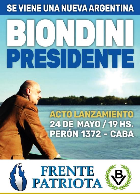 24 de Mayo: Acto de lanzamiento Biondini Presidente