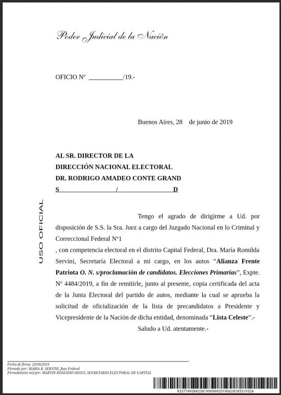 Biondini-Venturino confirmados por la Justicia Electoral